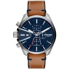 Diesel Mens MS9 Navy Blue Dial Brown Leather Strap Watch DZ4470