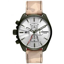 Diesel Mens MS9 Silver Dial Beige Camo Leather Strap Watch DZ4472