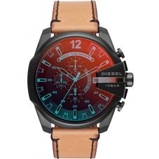 Diesel Mens Mega Chief Iridescent Dial Tan Brown Leather Strap Watch DZ4476