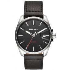 Diesel Mens MS9 Date Black Leather Strap Watch DZ1862