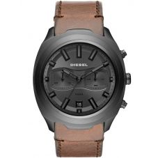 Diesel Tumbler Gunmetal Dial Brown Leather Strap Watch DZ4491