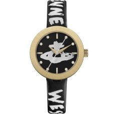 Vivienne Westwood Ladies Southbank Gold Plated Black Leather Strap Watch VV221GDBK