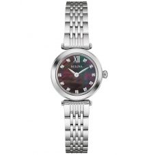 Bulova Ladies Black Mother Of Pearl Dial Stainless Steel Bracelet Watch 96S169