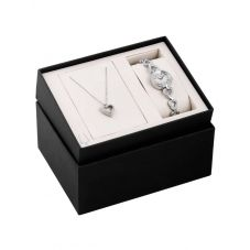 Bulova Ladies Swarovski Crystal Stainless Steel Bracelet Watch and Heart Pendant Set 96X136