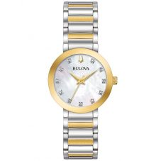 Bulova Ladies Modern Stainless Steel Mother Of Pearl Diamond Set Dial Gold Plated Two Tone Bracelet Watch 98P180