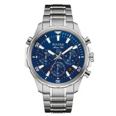 Bulova Mens Marine Star Stainless Steel Blue Chronograph Dial Bracelet Watch 96B256