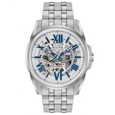 Bulova Mens Sutton Stainless Steel Automatic Skeleton Dial Bracelet Watch 96A187