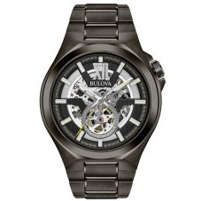 Bulova Mens Maquina Stainless Steel Automatic Skeleton Dial Gunmetal Bracelet Watch 98A179