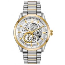 Bulova Mens Sutton Stainless Steel Skeleton Dial Gold Plated Two Tone Bracelet Watch 98A214