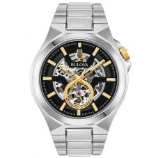 Bulova Mens Classic Stainless Steel Automatic Black Skeleton Dial Bracelet Watch 98A224