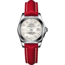 Breitling Ladies Galactic 29 SleekT Red Leather Strap Watch W7234812/A785 273X