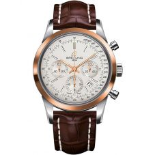 Breitling Mens Transocean Chronograph Leather Strap Watch UB015212-G777 739P