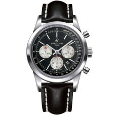 Breitling Mens Transocean Chronograph Black Leather Strap Watch AB015212-BF26 435X