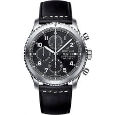 Breitling Mens Navitimer 8 Chronograph 43 Black Leather Strap Watch A13314101B1X1