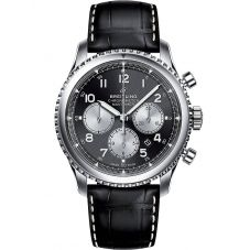 Breitling Mens Navitimer 8 B01 Chronograph 43 Black Leather Strap Watch AB0117131B1P1