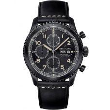 Breitling Mens Navitimer 8 Chronograph 43 Black Leather Strap Watch M13314101B1X1