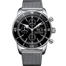 Breitling Mens Superocean Heritage II Chronograph 44 Mesh Strap Watch A13313121B1A1
