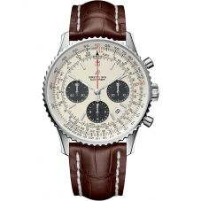 Breitling Mens Navitimer 1 B01 Chronograph 43 Brown Leather Strap Watch AB0121211G1P1
