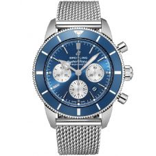 Breitling Mens Superocean Heritage II B01 Chronograph Blue Bracelet Watch AB0162161C1A1