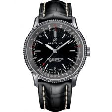 Breitling Mens Navitimer 1 Automatic 38 Black Leather Strap Watch A17325241B1P1