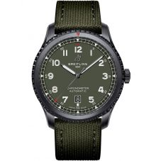 Breitling Mens Navitimer 8 Automatic 41 Green Fabric Strap Watch M173152A1L1X1