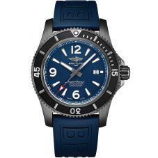 Breitling Mens Superocean Automatic 46 Blacksteel Blue Rubber Strap Watch M17368D71C1S1