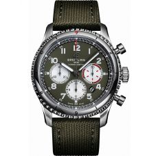 Breitling Mens Navitimer Aviator 8 B01 Chronograph 43 Curtiss Warhawk Green Fabric Strap Watch AB01192A1L1X2