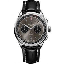 Breitling Mens Premier B01 Chronograph 42 Black Leather Strap Watch AB0118221B1P1