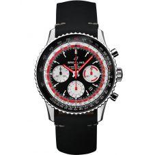 Breitling Mens Navitimer 1 B01 Chronograph 43 Swissair Black Leather Strap Watch AB01211B1B1X1