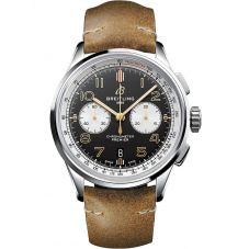 Breitling Mens Premier B01 Chronograph 42 Norton Brown Leather Strap Watch AB0118A21B1X1