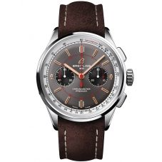 Breitling Mens Premier B01 Chronograph 42 Wheels and Waves Limited Edition Brown Leather Strap Watch AB0118A31B1X2