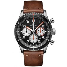 Breitling Mens Aviator 8 B01 Chronograph 43 Mosquito Brown Strap Watch AB01194A1B1X2