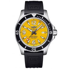 Breitling Mens Superocean 44 Automatic Yellow Dial Black Rubber Strap Watch A17367021I1S2