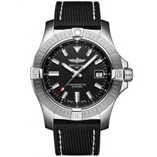 Breitling Mens Avenger Automatic 43 Acier Black Leather Strap Watch A17318101B1X2