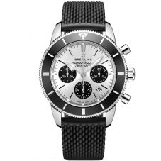 Breitling Mens Superocean Heritage B01 Chronograph 44 Black Rubber Strap Watch AB0162121G1S1