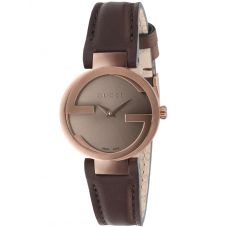 Gucci Ladies Interlocking-G Brown Dial Leather Strap Watch YA133504