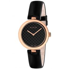 Gucci Ladies Diamantissima Rose Gold Plated Black Dial Leather Strap Watch YA141401