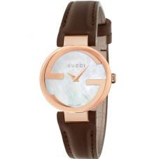 Gucci Ladies Interlocking-G Rose Gold Plated Brown Leather Strap Watch YA133516