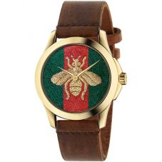 Gucci Ladies G-Timeless Gold Plated Honeybee Motif Brown Leather Strap Watch YA126451