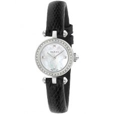 Gucci Ladies Diamantissima Small Diamond Dial Leather Strap Watch YA141511