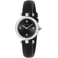 Gucci Ladies Diamantissima Small Black Dial Leather Strap Watch YA141506
