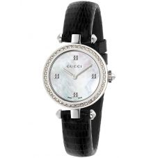 Gucci Ladies Diamantissima Diamond Dial Leather Strap Watch YA141507