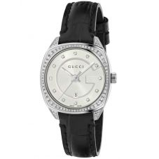 Gucci Ladies G-Frame Diamond Leather Strap Watch YA142507