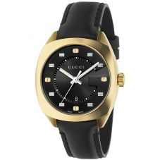 Gucci Ladies GG2570 Gold Plated Leather Strap Watch YA142408
