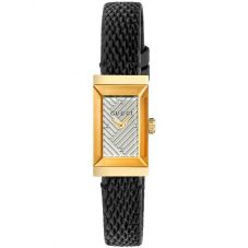 Gucci Ladies G-Frame Gold Plated Rectangular Black Leather Strap Watch YA147507