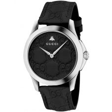 Gucci Unisex G-Timeless Black Leather Strap Watch YA1264031