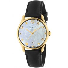 Gucci Ladies G-Timeless Gold Plated Mother Of Pearl Dial Black Leather Strap Watch YA1264044
