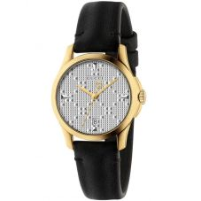 Gucci Ladies G-Timeless Gold Plated Small Black Leather Strap Watch YA126571