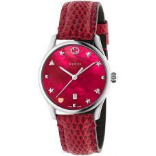 Gucci Ladies G-Timeless Medium Dial Cherry Red Leather Strap Watch YA1264041