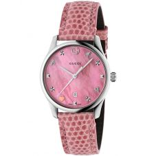 Gucci Ladies G-Timeless Pink House Motifs Small Leather Strap Watch YA126586